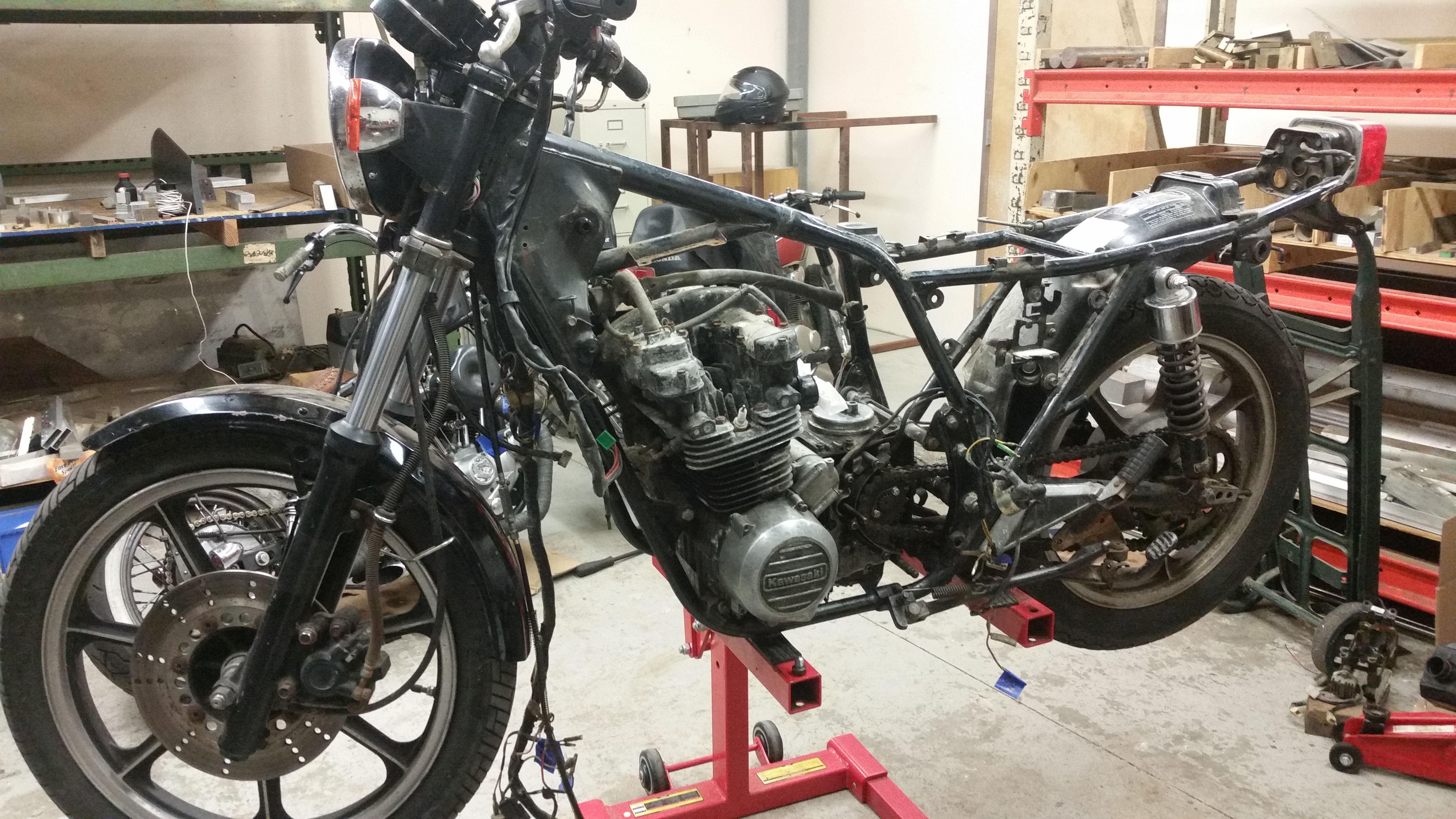 shop up date: progress on the kz550a cafe racer project - long may
